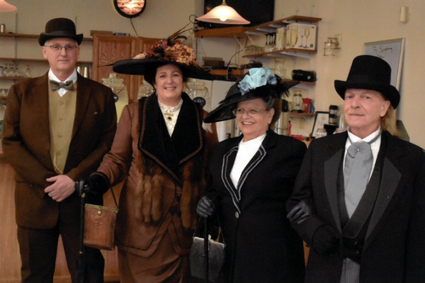 "Speaker Loraine Dawley, second from the left, brought her husband and her friends to model clothing sutibable for first-class passengers on the Titanic.  The Spring Meeting 2019 was a ""Titanic"" theme."